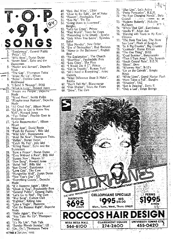 1984 Top 91 countdown from January 1985 edition of 91X's magazine, the X.