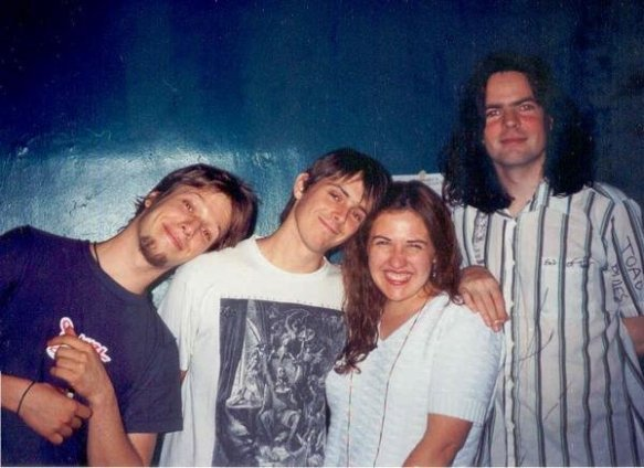 Jason Falkner, Glen Phillips, Angel Jain of WONC, Jon Brion backstage before the last Grays show in Chicago