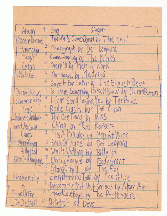 "The Rosetta Stone of my music list-making has been unearthed. Long thought lost, it was recently rediscovered along with other historic gems in a long overdue purging of neglected folder files. I have NOT been desperately hanging on to almost all of my elementary school report cards. It's just taken 30 years for me to free up a night to go through the archives. Since ""Sinchronicity"" (sic) came out in June of 1983, I must've written this in my last days as a sixth grader. I seem to remember classmate Dylan Halberg excitedly coming up with a list of his favorite songs and I wanted to make something better. That's me. Still an eleven year old jerk. Yes, I know ""Can't Stand Losing You"" wasn't on Sin-chronicity. Now YOU'RE the jerk."