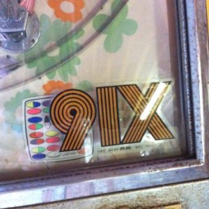 Sticker of original 91X logo from 91X.com's 1983 page.  Their building on Pacific Hwy had a HUGE sign of this that they never changed.