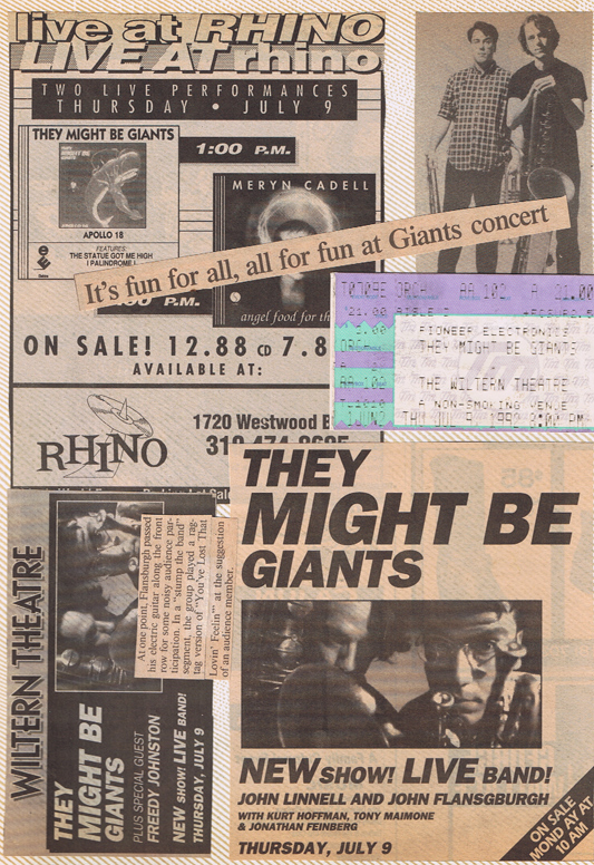 Memories from an LA TMBG show & instore.  The first time I saw them was at XFest III in 1990 with B-52's, Ziggy Marley & the Cramps.  I did not jokingly get down and kiss John Flansburgh's feet  as he walked through the crowd.  That just didn't happen.
