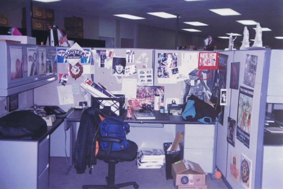 My desk at BMG in Hollywood.  How many posters and album flats can you ID? Click for the answers.