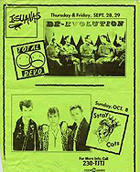 "Low-res flyer of Iguana's very first shows from Huboon.com, Devo's live guide. Another band whose most famous songs came out just before 91X started their countdowns.  They had ten songs in KROQ's countdowns from 1980-82, including ""Whip It"" at #1 on their first countdown in 1980.  Points from those songs would've put them at # on this list."