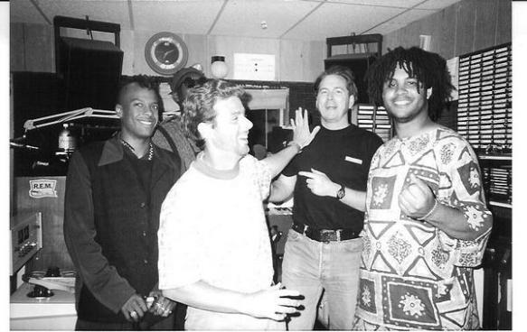 Dwight Arnold and Halloran with Fishbone in studio 1991