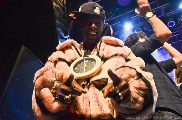 Flavor Flav returned the favor by showing up to the station's 30th anniversary party with Kat Williams and Suge Knight at the House of Blues, January 2013.  Photo by the great Alex Matthews.  Click to see more of his photography.