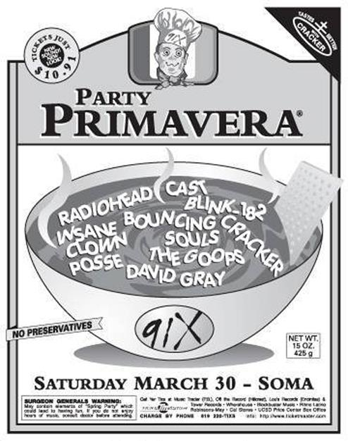 Cast's first US show. Soma March 30, 1996. ICP went on last so they could get the stage as sticky as they wanted.  They played to 10 kids in facepaint, 10 91X staffers and two of us gigglers.