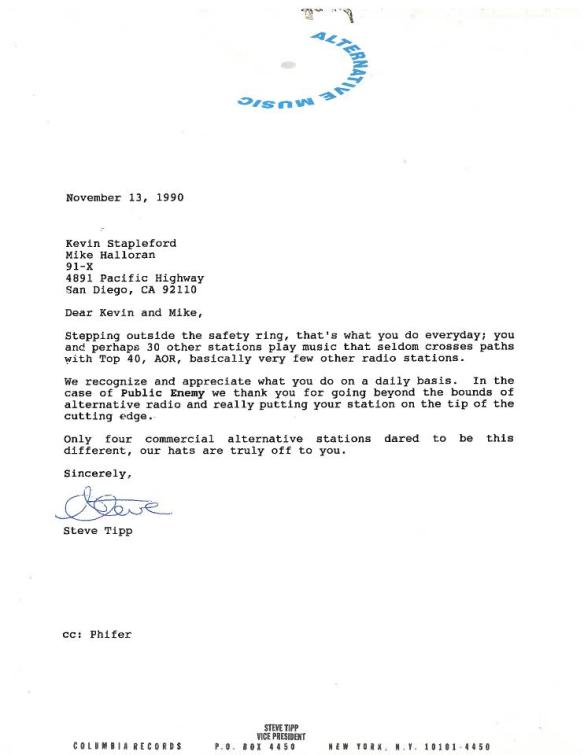 Letter to 91X's Mike Halloran and Kevin Stapleford for adding Public Enemy from Steve Tipp of Columbia Records