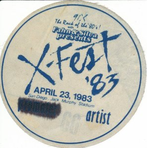 Dwight Arnold's XFest backstage pass 1983