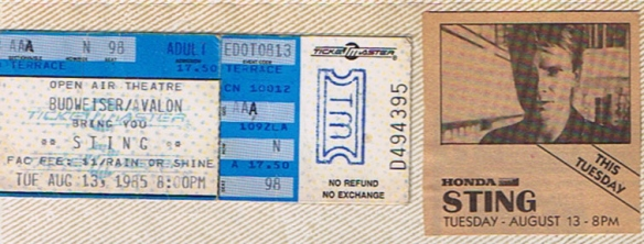 Exactly 365 days after my real first show, I was back at  the OAT seeing Sting's first-ever US concert.