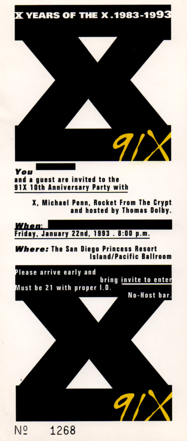 1993 Decade of the X concert appropriately headlined by X.