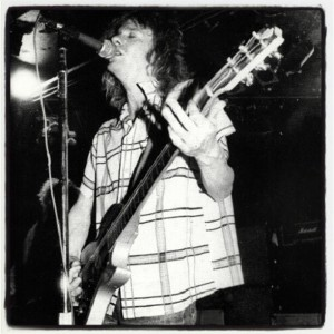 """O says """"A young Paul Westerberg rips through a great set as the Replacements tour in 1982 I shot this photo of them at a place called the cornhusker in Azusa Calif. Bob was as crazy as ever, and the place had about 20 or so people there. The Replacements one of the best bands ever. """""""