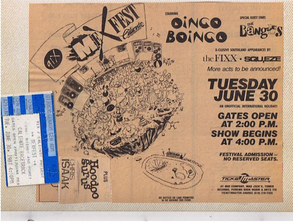 The infamous 1987 Mexico version of XFest with the Hoodoo Gurus and more.  Apparently I'm the only one who saved the Reader ad (as seen on 91X.com)