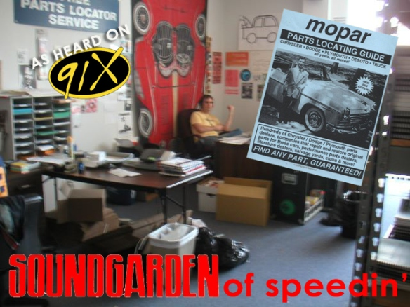 "I once heard Halloran say ""That was Soundgarden of Speedin'"" on 91X like it was no big thang. Garden of Speedin was the business I ran for eleven(!) years (archived link below). Apparently it wasn't the only time he ever did it. I probably did damage cranking my college roommate's Badmotorfinger cassette back in the day but I don't remember much about seeing them at Lollapalooza in 1992, other than Ben Shepherd's ridiculously awesome floor-scraping rock posture."