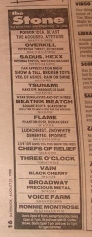 Beatnik Beatch playing the Stone in SF the same week as Falkner-era Three O'Clock, 1988.  From the George Cole archives