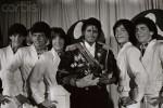 Michael Jackson Holding Grammy Awards
