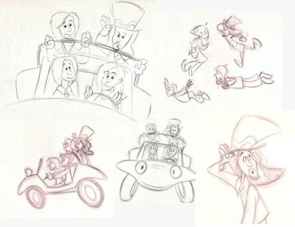 Original video sketches recently auctioned on eBay by animation director Allen Battino.