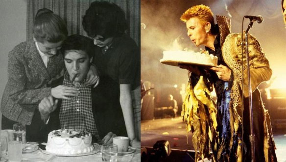 Elvis turns 23 on the set of King Creole in 1958.  Thin White Duke turns 50 onstage at Madison Square Garden, NYC.