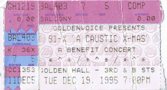 This ticket stub is now the only proof online that this show happened.  Starring Rocket From The Crypt, Love & Rockets, the Rentals, Tripping Daisy, Mike Peters from the Alarm and Dave Wakeling from the Beat.