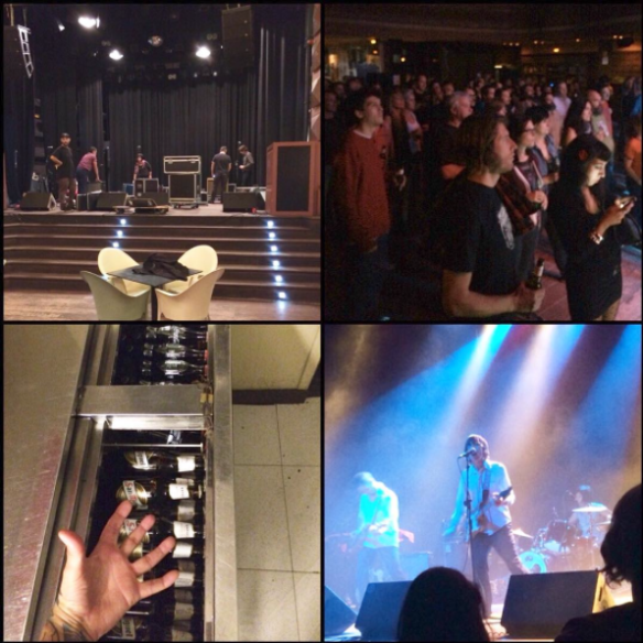 "Justin quad photo. ""First night of tour. Load in, crowd packed in, free beern', schizos rockn'"""